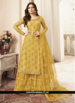 Jacquard Yellow Embroidered Palazzo Salwar Kameez