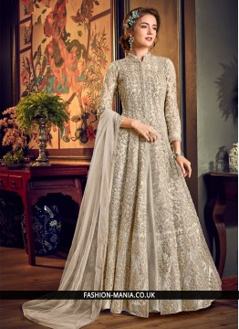 Jazzy Off White Sequins Fancy Fabric Jacket Style Salwar Suit