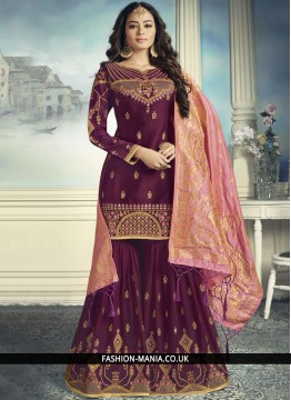 Magenta Faux Georgette Party Designer Pakistani Suit