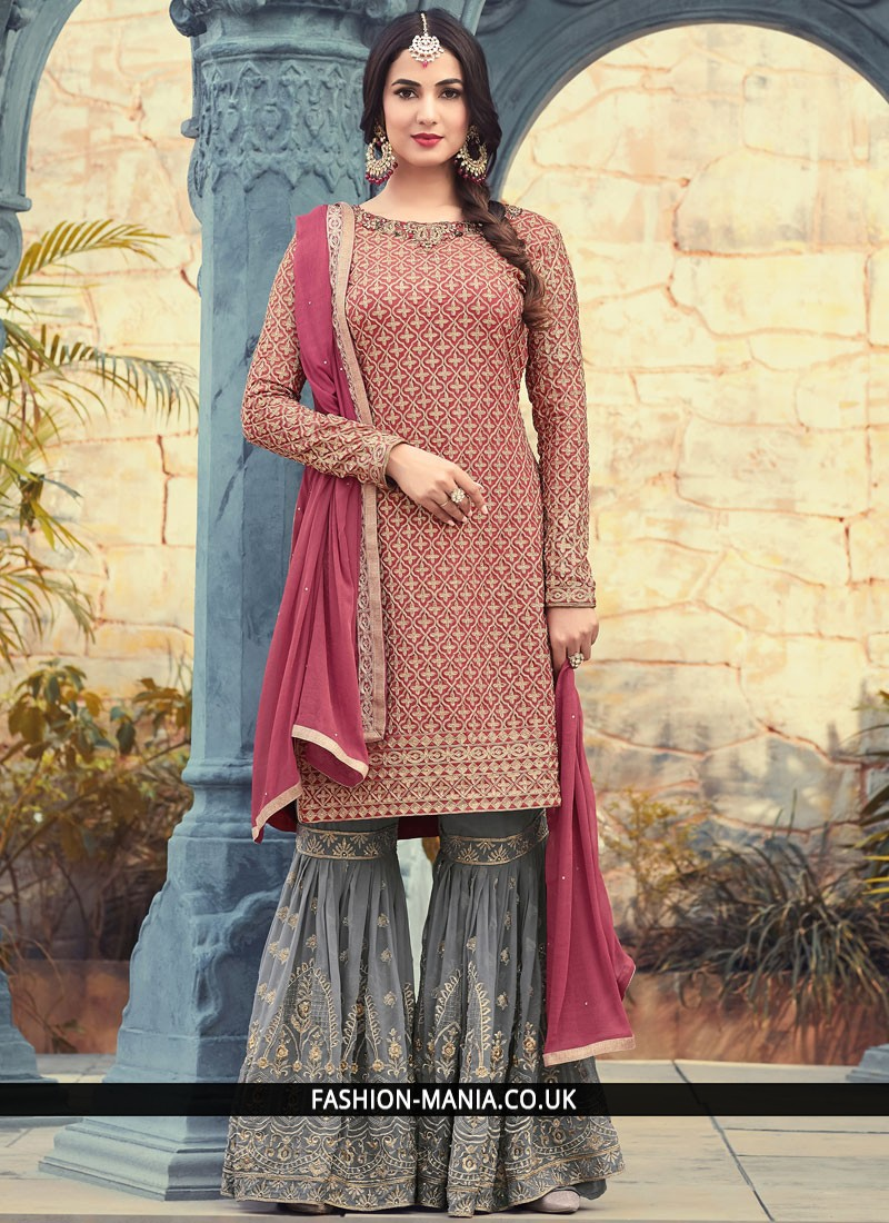 83db5f3ec Majestic Magenta Embroidered Work Designer Pakistani Suit