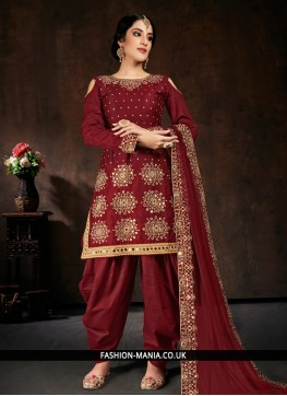 Maroon Cotton Embroidered Designer Patiala Salwar Kameez