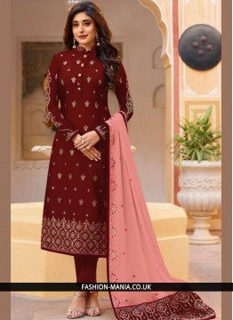 Maroon Embroidered Bridal Churidar Salwar Kameez