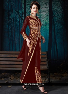 Maroon Faux Georgette Embroidered Pant Style Suit