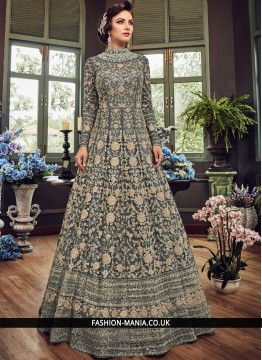 Mesmeric Embroidered Grey Fancy Fabric Floor Length Anarkali Suit
