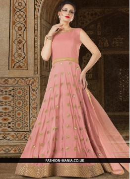 Mesmerizing Pink Embroidered Work Satin Floor Length Anarkali Suit