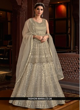 Net Embroidered Designer Salwar Suit in Grey