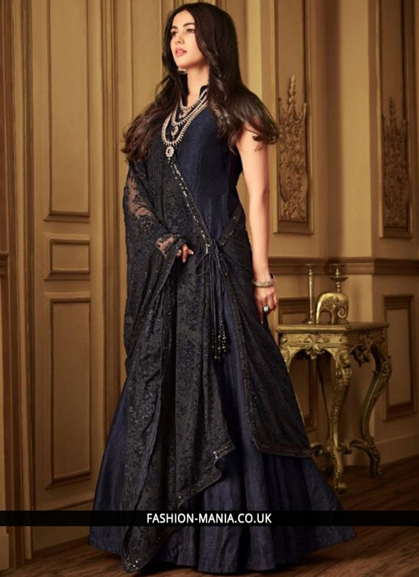Net Embroidered Navy Blue Designer Salwar Kameez