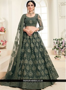 Outstanding Net Embroidered Trendy A Line Lehenga Choli