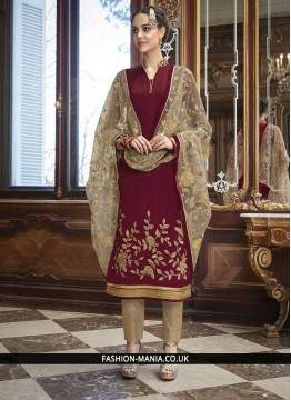 Phenomenal Silk Maroon Anarkali Salwar Suit