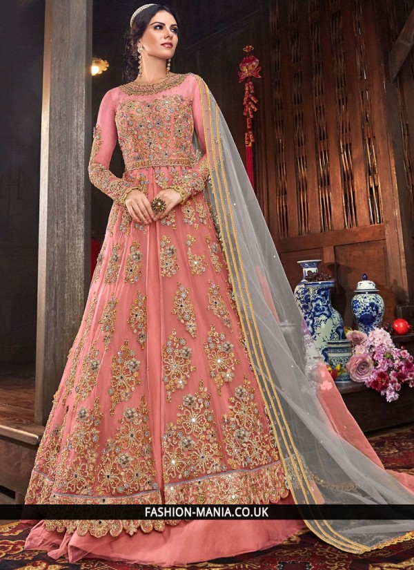 Pink Embroidered Trendy Long Length Anarkali Suit