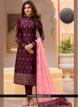 Purple Silk Designer Patila Salwar Suit