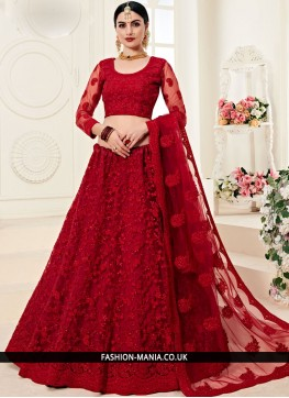 Red Embroidered Trendy A Line Lehenga Choli