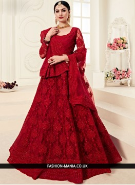 Red Net Embroidered Designer A Line Lehenga Choli
