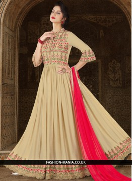 Remarkable Lace Work Rayon Beige Floor Length Anarkali Suit