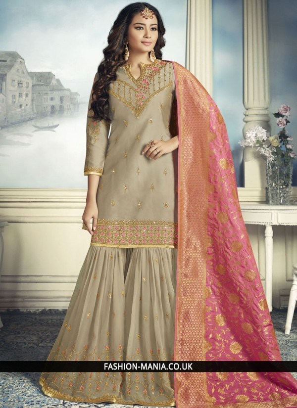 Resham Faux Georgette Designer Pakistani Suit in Grey