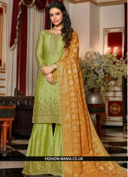 Resham Georgette Satin Designer Pakistani Suit in Green