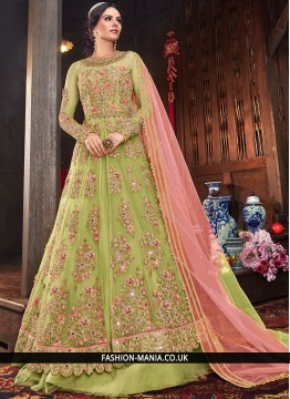 Resham Net Floor Length Anarkali Salwar Suit in Sea Green