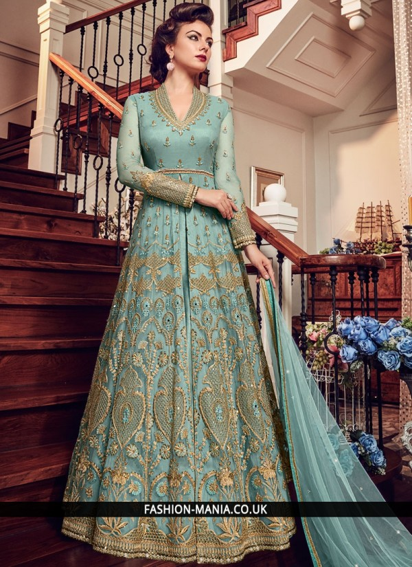 Riveting Blue Embroidered Fancy Fabric Floor Length Anarkali Suit