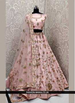 Satin Silk Lace Pink Lehenga Choli