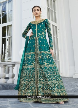 Sea Green Ceremonial Art Silk Floor Length Anarkali Suit