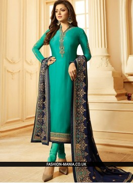 Sightly Georgette Embroidered Sea Green Churidar Designer Suit