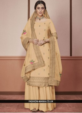 Silk Churidar Salwar Suit in Yellow