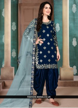 Sophisticated Art Silk Embroidered Blue Salwar Suit