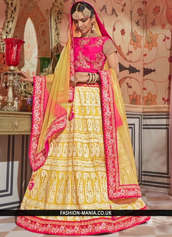 Staggering Rose Pink and Yellow Bridal Lehenga Choli