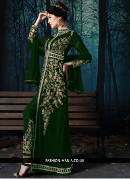 Strange Faux Georgette Embroidered Pant Style Suit