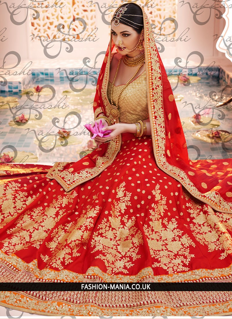 5e4c07560f Stunning Red Patch Border Work Lehenga Choli - 52528