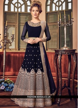 Sumptuous Blue Embroidered Fancy Fabric Floor Length Anarkali Suit