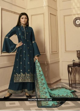 Teal Georgette Satin Embroidered Trendy Palazzo Salwar Suit