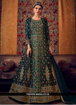 Teal Reception Net Anarkali Salwar Kameez