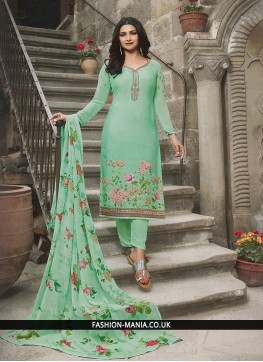 Tiptop Embroidered Sea Green Prachi Desai Churidar Designer Suit