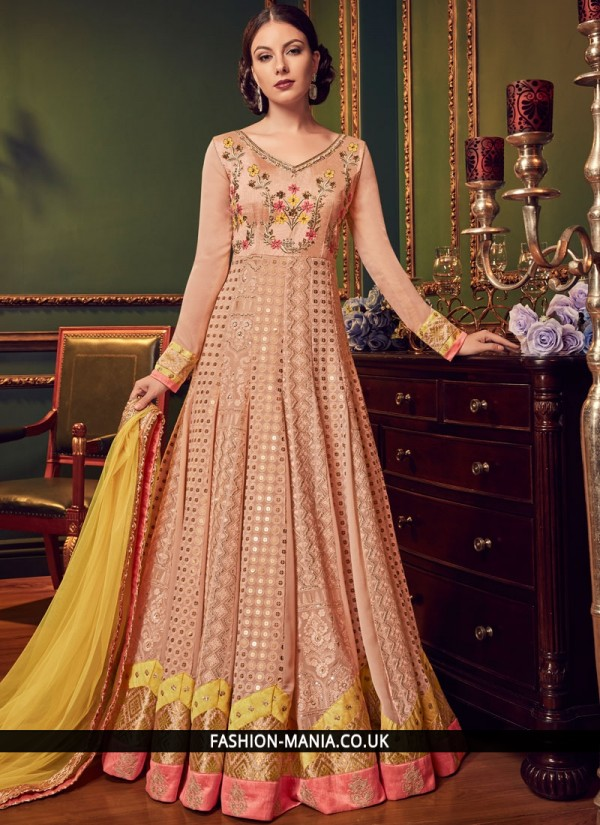 Titillating Embroidered Peach Floor Length Anarkali Suit