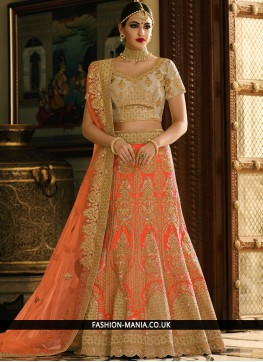 Trendy Art Dupion Silk Orange A Line Lehenga Choli