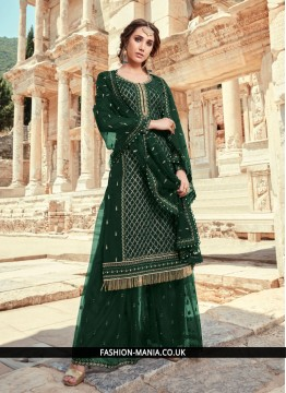 Trendy Green Embroidered Faux Georgette Designer Pakistani Suit