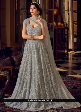 Urbane Embroidered Net Grey Floor Length Anarkali Suit