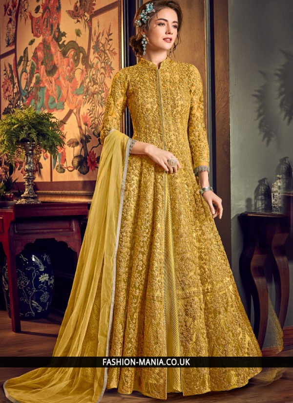 Vibrant Fancy Fabric Yellow Embroidered Trendy Salwar Suit