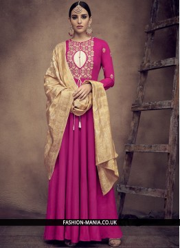 Voluptuous Hot Pink Embroidered Readymade Anarkali Suit