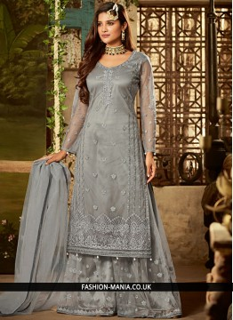 Voluptuous Net Blue Designer Pakistani Suit