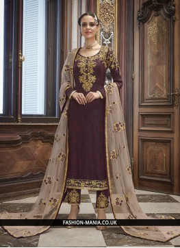 Wine Art Silk Churidar Salwar Kameez