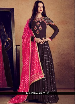 Wine Embroidered Party Readymade Anarkali Suit