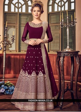 Wine Wedding Fancy Fabric Floor Length Anarkali Suit