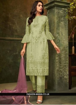Winsome Embroidered Sea Green Pant Style Suit