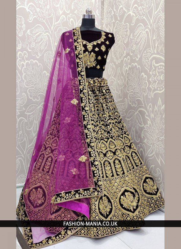 Wonderous Velvet Wine Lace Lehenga Choli