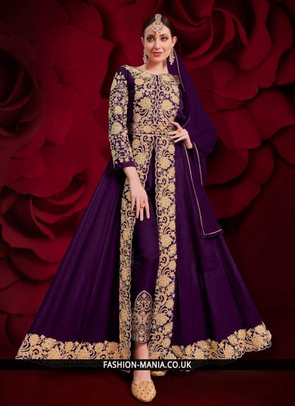 Zari Faux Georgette Designer Floor Length Salwar Suit in Purple