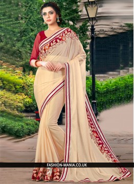 Epitome Cream Faux Georgette Classic Designer Saree