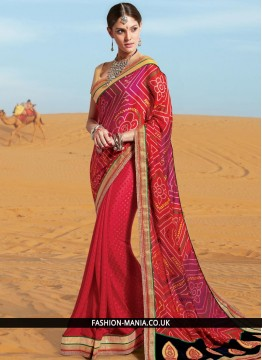 Eye-Catchy Lace Work Georgette Printed Saree