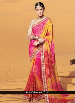 Imposing Georgette Print Work Printed Saree